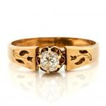 Victorian Old Mine Cut Diamond Gold Ring